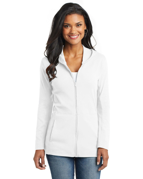 Port Authority L519 Ladies Modern Stretch Cotton Full-Zip Jacket.  White at bigntallapparel