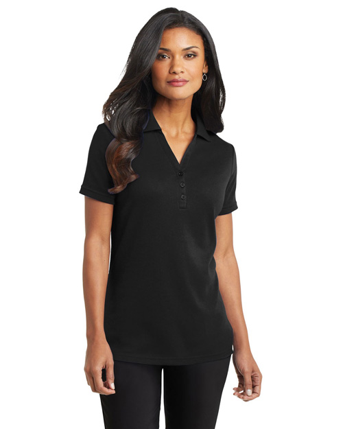Port Authority L520 Ladies Silk Touch™ Interlock Polo.  Black at bigntallapparel