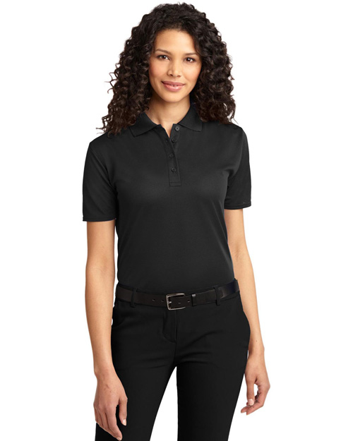 Port Authority L525 Women Dry Zone Ottoman Polo Black at bigntallapparel