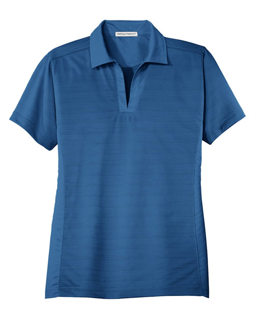 Port Authority L526 Ladies Dry Zone™ Horizontal Texture Polo.  Strong Blue at bigntallapparel
