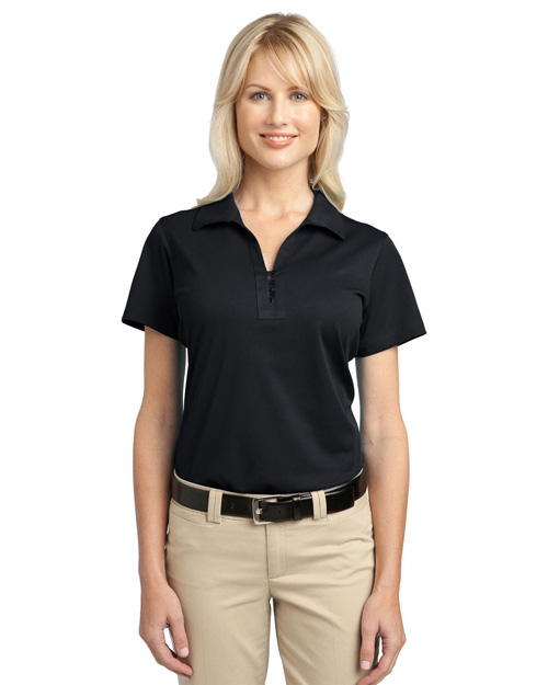 Port Authority L527 Ladies Tech Pique Polo.  Black at bigntallapparel