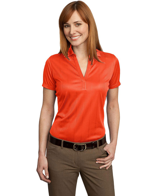 Port Authority L528 Ladies Performance Fine Jacquard Polo.  Autumn Orange at bigntallapparel