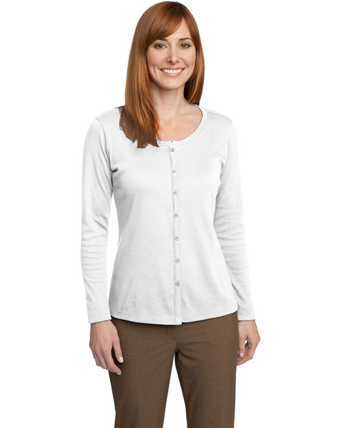 Port Authority L530 Women Silk Touch Interlock Cardigan White at bigntallapparel