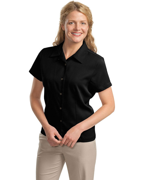 Port Authority L535 Ladies Easy Care Camp Shirt.   Black at bigntallapparel