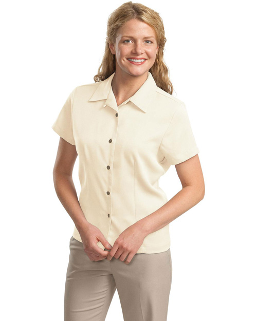 Port Authority L535 Women Easy Care Camp Shirt Ivory at bigntallapparel