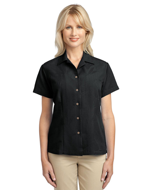Port Authority L536 Ladies Patterned Easy Care Camp Shirt.  Black at bigntallapparel