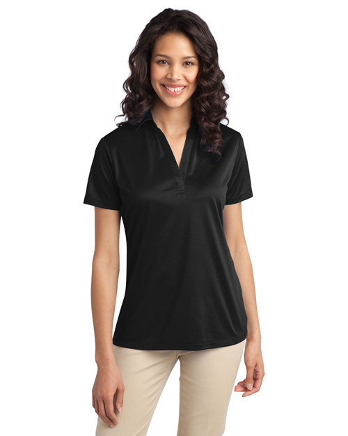 Port Authority L540 ® Ladies Silk Touch? Performance Polo.  Black at bigntallapparel