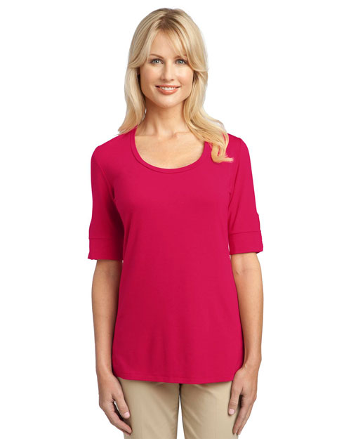 Port Authority L541 Ladies Concept Scoop Neck Shirt.  Rose Pink at bigntallapparel
