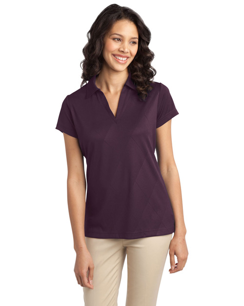 Port Authority L548 ® Ladies Tech Embossed Polo.  Bermuda Purple at bigntallapparel