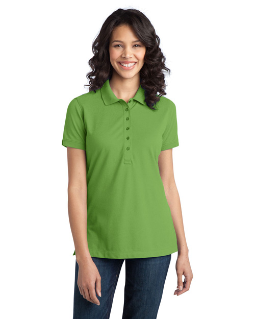 Port Authority L555 Women Tretch Pique Polo Wintergreen at bigntallapparel