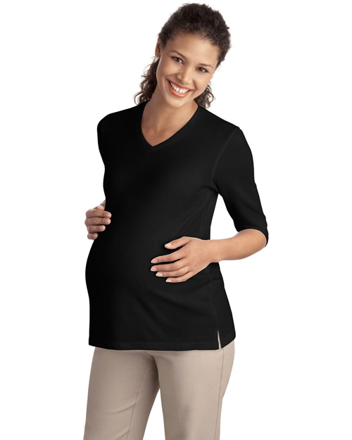Port Authority L561M Ladies Silk Touch™ Maternity 3/4-Sleeve V-Neck Shirt.  Black at bigntallapparel
