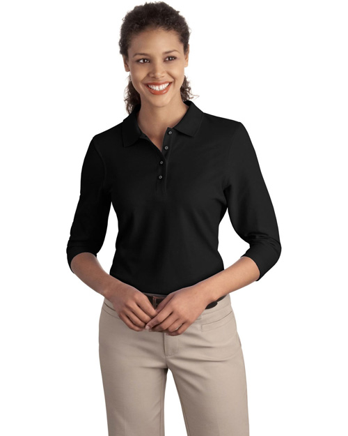 Port Authority L562 Ladies Silk Touch™ 3/4-Sleeve Polo.  Black at bigntallapparel
