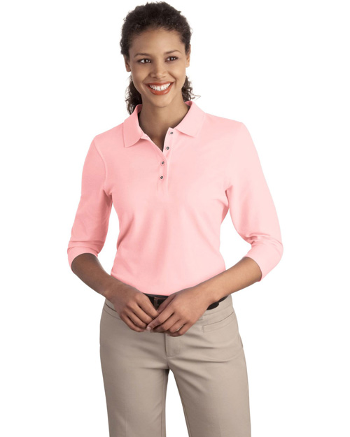 Port Authority L562 Ladies Silk Touch™ 3/4-Sleeve Polo.  Light Pink at bigntallapparel