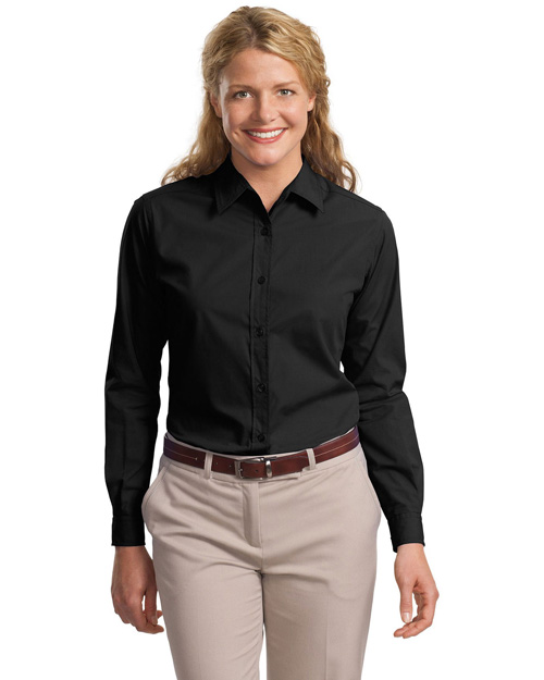 Port Authority L607 Ladies Long Sleeve Easy Care, Soil Resistant Shirt.   Black at bigntallapparel