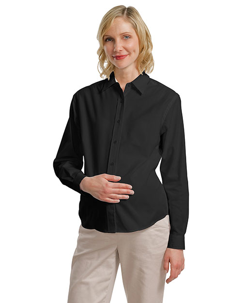 Port Authority Signature L608M Port Authority ®  - Maternity Long Sleeve Easy Care Shirt. Black/Light Stone at bigntallapparel
