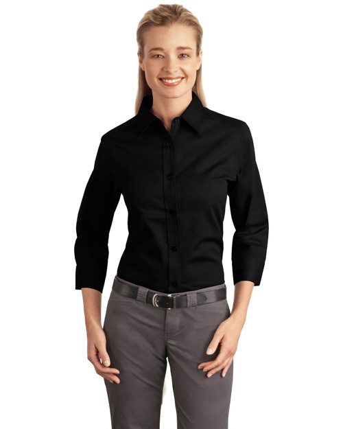 Port Authority L612 Ladies 3/4-Sleeve Easy Care Shirt.  Black at bigntallapparel