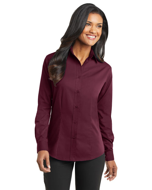 Port Authority L613 Ladies Tonal Pattern Easy Care Shirt.  Maroon at bigntallapparel