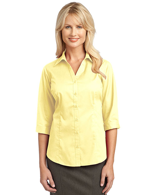 Port Authority L6290 Ladies 3/4-Sleeve Blouse.  Pale Yellow at bigntallapparel