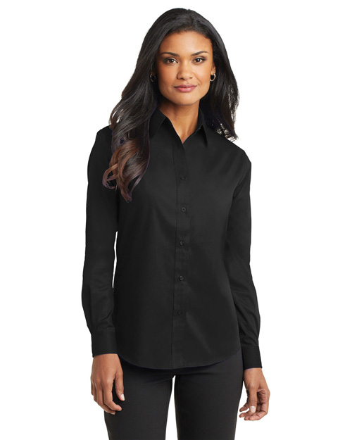 Port Authority L632 Ladies Long Sleeve Value Poplin Shirt.  Black at bigntallapparel