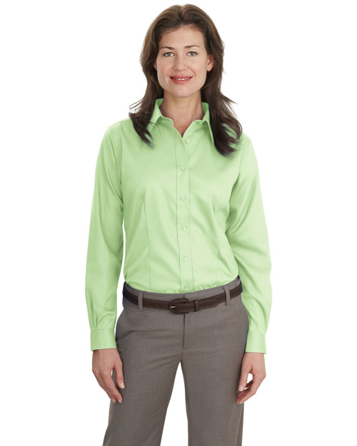Port Authority L638 Ladies Long Sleeve Non-Iron Twill Shirt.   Green Mist at bigntallapparel