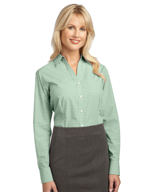 Port Authority L639 Ladies Plaid Pattern Easy Care Shirt.  Green at bigntallapparel