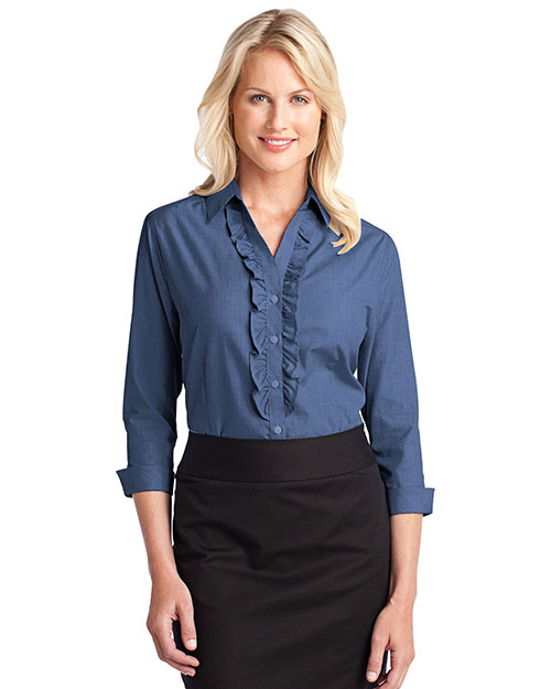 Port Authority L644 Ladies Crosshatch Ruffle Easy Care Shirt.  Deep Blue at bigntallapparel