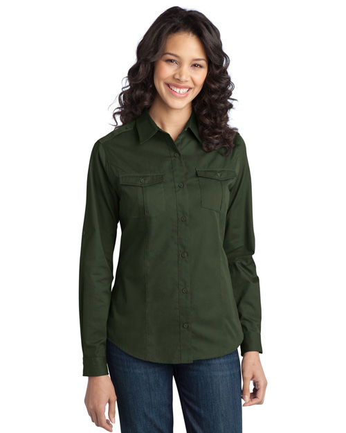 Port Authority L649 ® Ladies Stain-Resistant Roll Sleeve Twill Shirt.  Basil Green at bigntallapparel