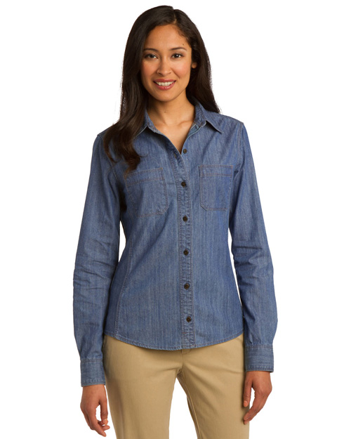 Port Authority L652 ® Ladies Chambray Shirt. L653 Lt Indigo at bigntallapparel
