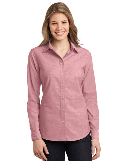 Port Authority L653 ® Ladies Chambray Shirt.  Barn Red at bigntallapparel