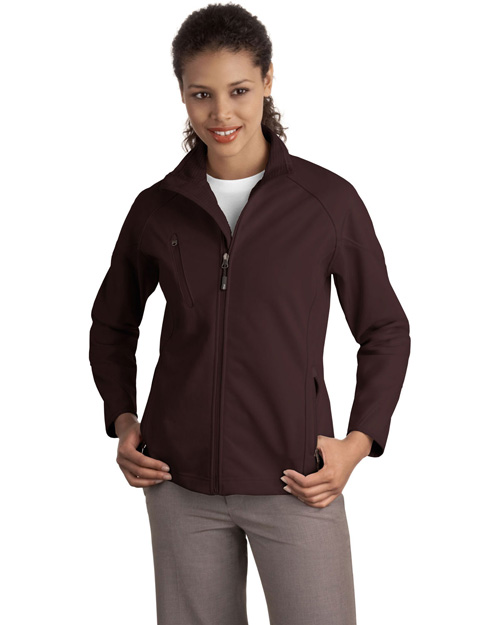 Port Authority L705 Ladies Textured Soft Shell Jacket.  Cafe Brown at bigntallapparel