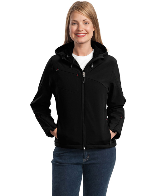 Port Authority L706 Ladies Textured Hooded Soft Shell Jacket.  Black/Engine Red at bigntallapparel