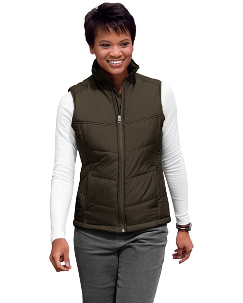 Port Authority L709 Women Puffy Vest Espresso/Foliage Green at bigntallapparel
