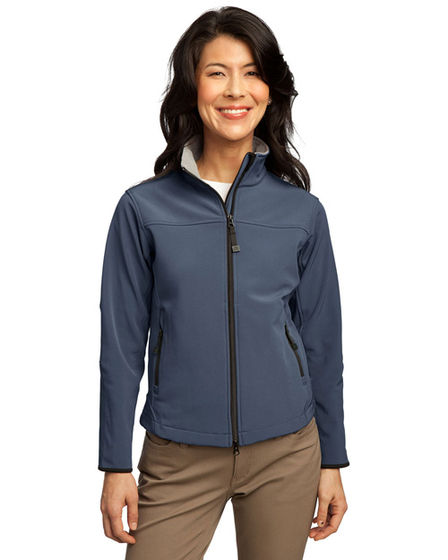 Port Authority L790 Ladies Glacier Soft Shell Jacket.   Atlantic Blue/Chrome at bigntallapparel