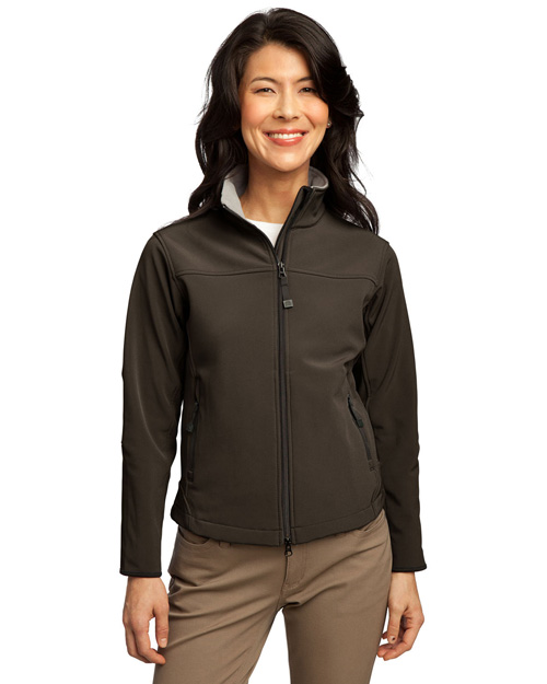 Port Authority L790 Ladies Glacier Soft Shell Jacket.   Brown/Chrome at bigntallapparel