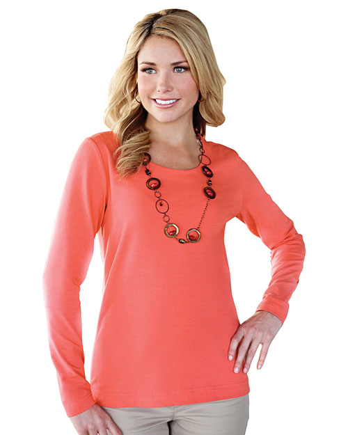 Tri-Mountain LB135 Womens 95% Cotton 5% Spandex Long Sleeve Crew Neck Tee. BRIGHT FLAME at bigntallapparel