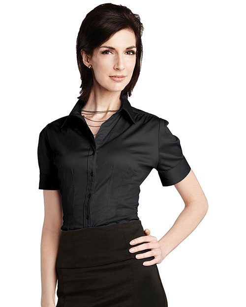 Tri-Mountain LB755 Womens 96% Cotton 4% Spandex Solid Satin Woven Shirts. BLACK at bigntallapparel