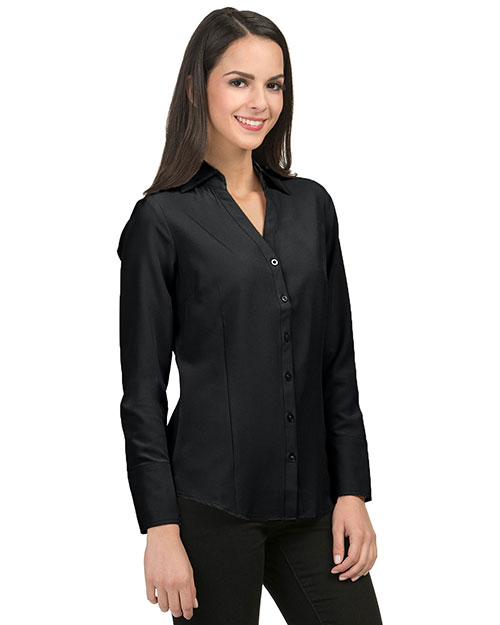 Tri-Mountain LB757 Womens 96% Polyester 4% Spandex Woven Shirts. BLACK at bigntallapparel