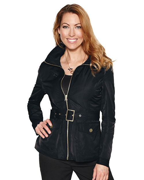 Tri-Mountain LB8123 Women's 100% polyester woven water repellent jacket with quilted lining BLACK at bigntallapparel