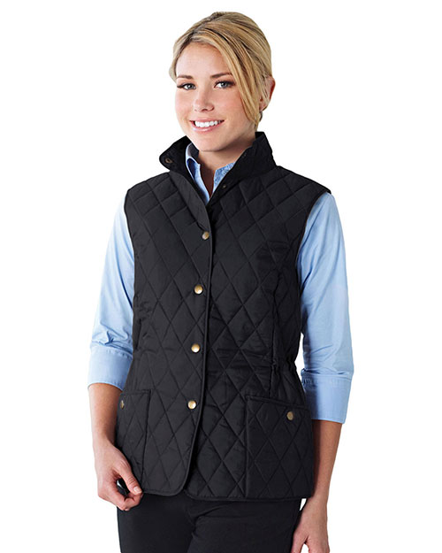 Tri-Mountain LB8221 Womens 95% Polyester 5% Nylon Woven Poly-filled Quilted W/R Jacket. BLACK at bigntallapparel