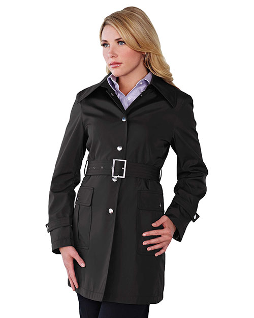 Tri-Mountain LB9013 Women 100% Polyester Hooded Trench Coat Black at bigntallapparel