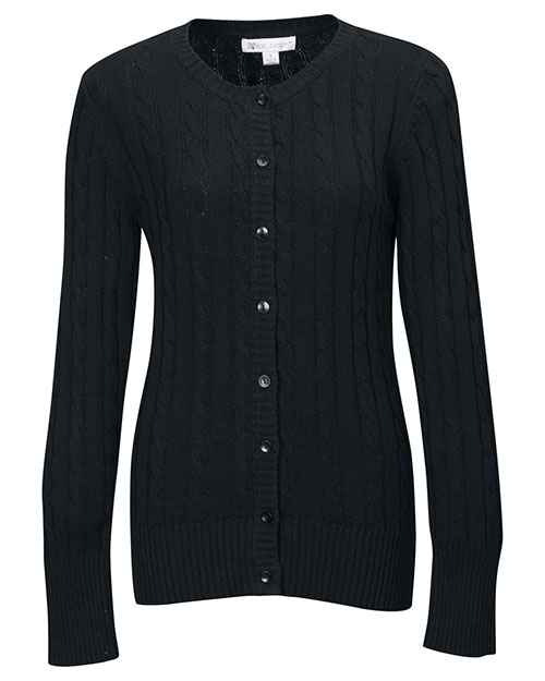Tri-Mountain LB923 Women 100% Cotton Long Sleeves Cable Sweater Cardigan Black at bigntallapparel