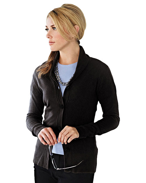 Tri-Mountain LB924 Womens 100% Arcylic Long Sleeve Sweater Cardigan. BLACK at bigntallapparel