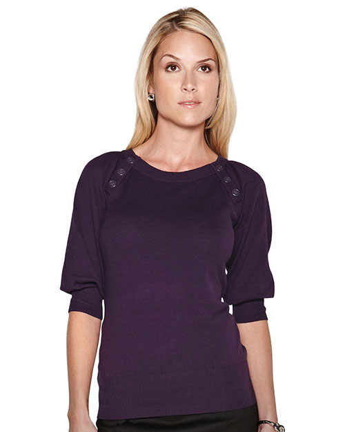 Tri-Mountain LB925 Womens 100% cotton + 70 d/l Nylon Knit Elbow Sleeve Sweater AUBERGINE at bigntallapparel
