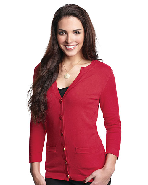 Tri-Mountain LB929 Women's 3/4 sleeve sweater cardigan. RED at bigntallapparel