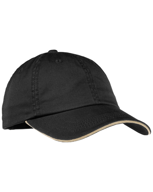 Port Authority LC830 Ladies Sandwich Bill Cap with Striped Closure.  Black/Khaki at bigntallapparel