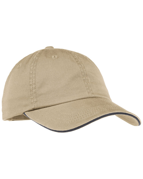 Port Authority LC830 Ladies Sandwich Bill Cap with Striped Closure.  Khaki/Charcoal Blue at bigntallapparel