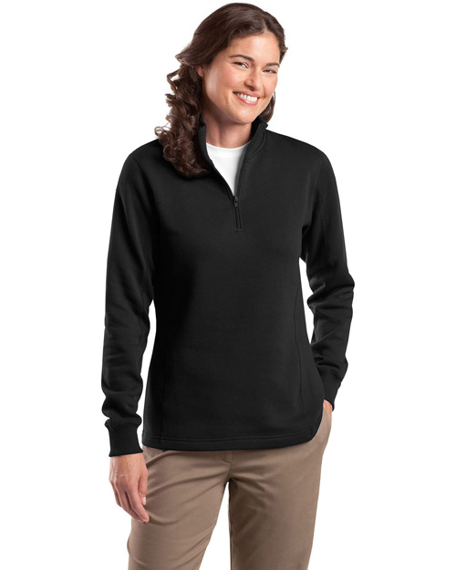 Sport-Tek LST253 Women 1/4-Zip Sweatshirt Black at bigntallapparel