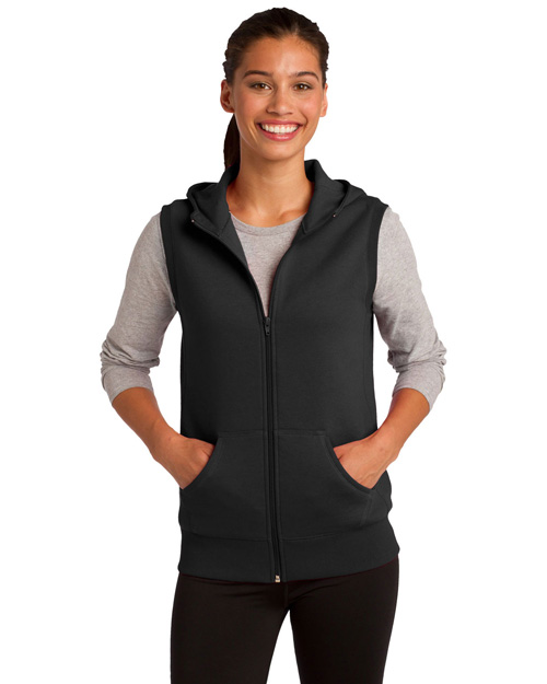 Sport-Tek LST268 ® Ladies Hooded Fleece Vest.  Black at bigntallapparel