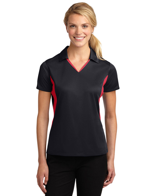 Sport-Tek LST655 Ladies Side Blocked Micropique Sport-Wick Polo.  Black/Red at bigntallapparel