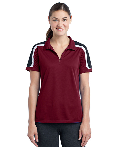 Sport-Tek LST658 Women Tricolor Shoulder Micropique Sport-Wick Polo Maroon/Black/White at bigntallapparel